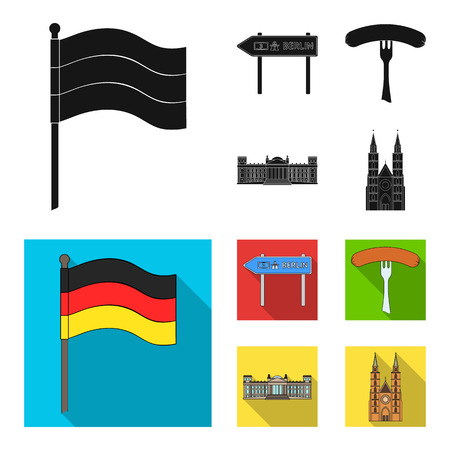 Country Germany black, flat icons in set collection for design. Germany and landmark vector symbol stock web illustration.