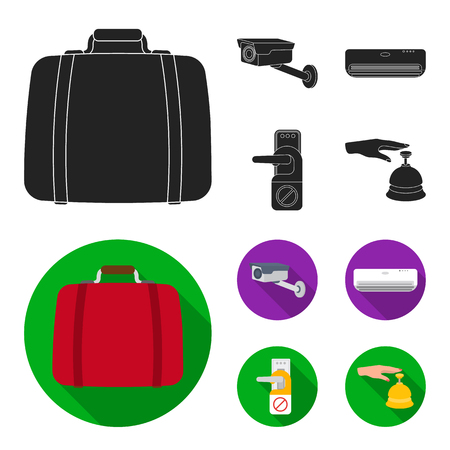 Luggage, surveillance camera, air conditioning, do not disturb the sign.Hotel set collection icons in black, flat style vector symbol stock illustration web.