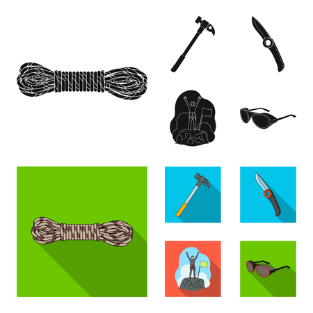 Climber on conquered top, coil of rope, knife, hammer.Mountaineering set collection icons in black, flat style vector symbol stock illustration web.