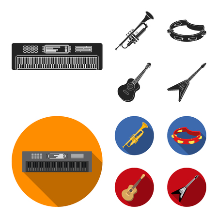 Electro organ, trumpet, tambourine, string guitar. Musical instruments set collection icons in black, flat style vector symbol stock illustration web. Illustration