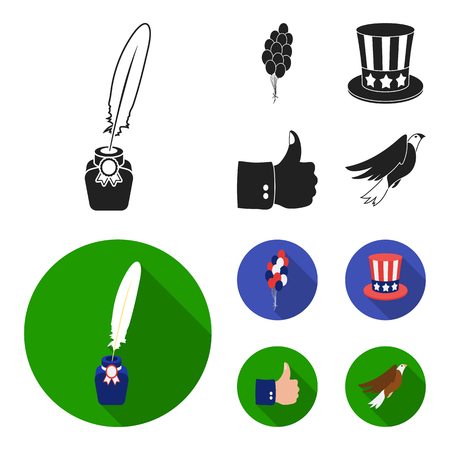 Balloons, inkwell with a pen, Uncle Sam hat. The patriot day set collection icons in black, flat style vector symbol stock illustration web. Vettoriali