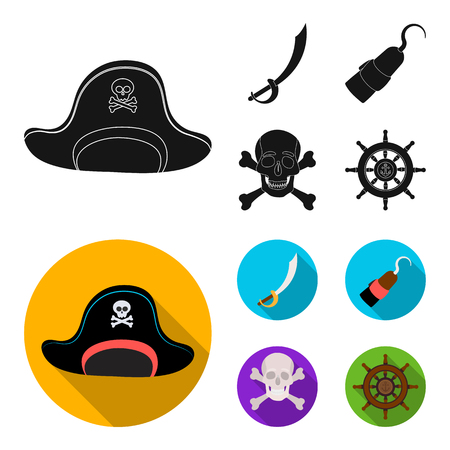 Pirate, bandit, cap, hook .Pirates set collection icons in black, flat style vector symbol stock illustration web.