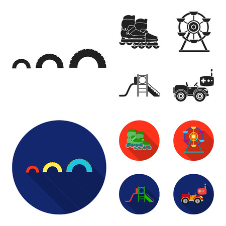 Ferris wheel with ladder, scooter. Playground set collection icons in black, flat style vector symbol stock illustration web.