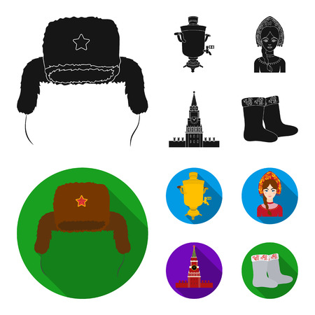 Clothes, woman, kremlin, building .Russia country set collection icons in black, flat style vector symbol stock illustration web. Illustration