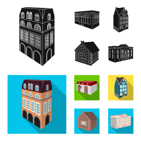Residential house in English style, a cottage with stained-glass windows, a cafe building, a wooden hut. Architectural and building set collection icons in black,flat style vector symbol stock illustration web.
