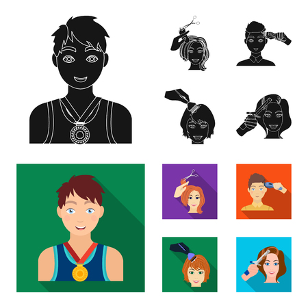 Athlete with a medal, a haircut with an electric typewriter and other web icon in black,flat style. Women haircut, hair coloring in the hairdresser icons in set collection.