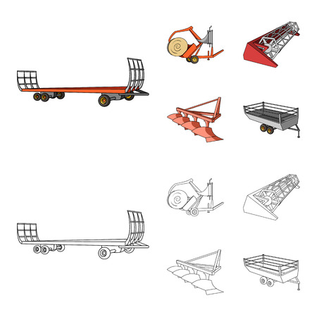 Plow, combine thresher, trailer and other agricultural devices. Agricultural machinery set collection icons in cartoon,outline style vector symbol stock illustration web.