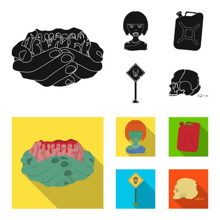 Zombies and Attributes black,flat icons in set collection for design. Dead man vector symbol stock web illustration. Иллюстрация