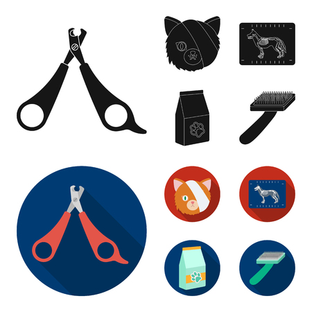 Scissors, cat, bandage, wounded .Vet Clinic set collection icons in black,flat style vector symbol stock illustration web.