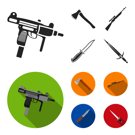 Ax, automatic, sniper rifle, combat knife. Weapons set collection icons in black,flat style vector symbol stock illustration web. Ilustração