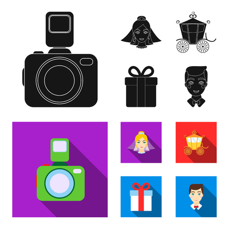 Bride, photographing, gift, wedding car. Wedding set collection icons in black,flat style vector symbol stock illustration web.