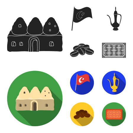House hive, national flag, coffee pot copper, grains coffee.Turkey set collection icons in black,flat style vector symbol stock illustration web.