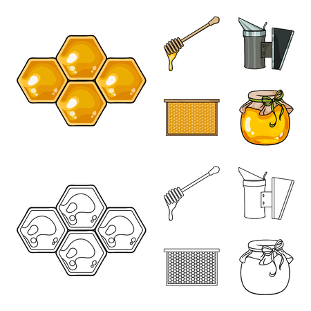 A frame with honeycombs, a ladle of honey, a fumigator from bees, a jar of honey.Apiary set collection icons in cartoon,outline style vector symbol stock illustration web. Illustration