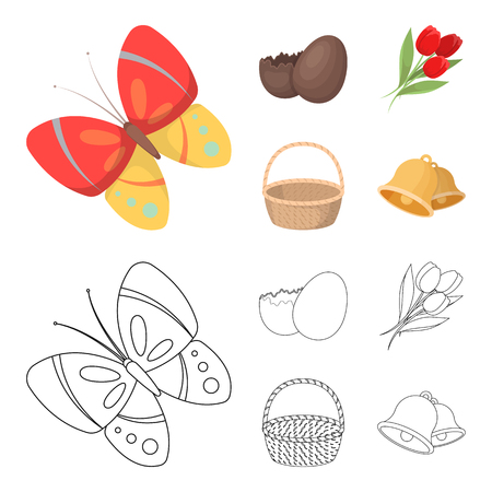 Chocolate egg, bells, basket and flowers.Easter set collection icons in cartoon,outline style vector symbol stock illustration web.