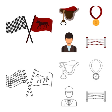 Saddle, medal, champion, winner .Hippodrome and horse set collection icons in cartoon,outline style vector symbol stock illustration web.