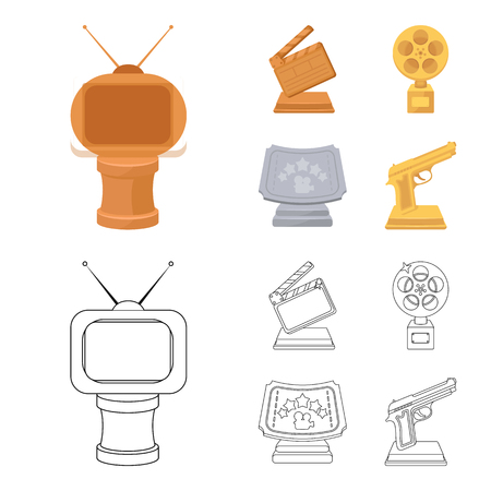 Gold pistol, silver prize for the best supporting role and other prizes.Movie awards set collection icons in cartoon,outline style vector symbol stock illustration web.