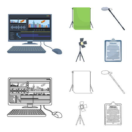 Hromakey, script and other equipment. Making movies set collection icons in cartoon,outline style vector symbol stock illustration web.