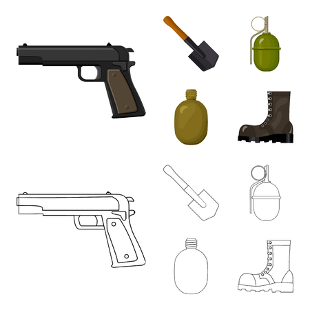 Sapper blade, hand grenade, army flask, soldier boot. Military and army set collection icons in cartoon,outline style vector symbol stock illustration web. Ilustração