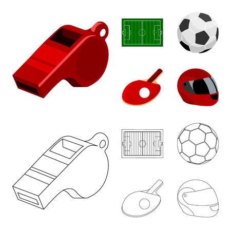 Field, stadium with markings for playing football, football ball, racket with a ball for table tennis, protective helmet for the game,glove for baseball or rugby. Sport set collection icons in cartoon,outline ,flat style vector symbol stock illustration web.