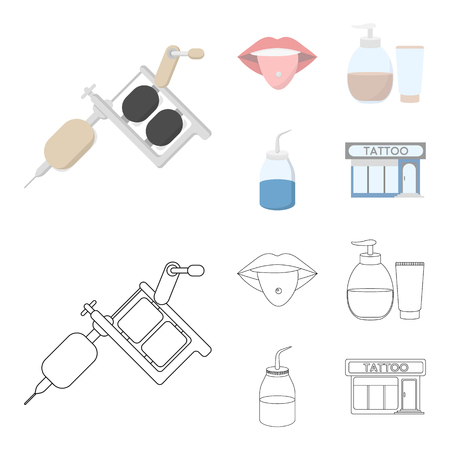 Piercing in tongue, gel, sallon. Tattoo set collection icons in cartoon,outline style vector symbol stock illustration web.