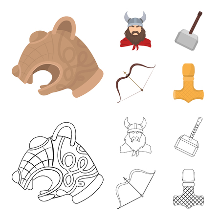 Viking in helmet with horns, mace, bow with arrow, treasure. Vikings set collection icons in cartoon,outline style vector symbol stock illustration web.