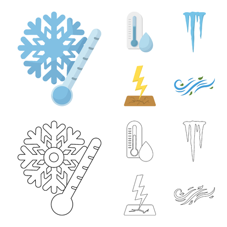 Humidity, icicles, thunderbolt, windy weather. Weather set collection icons in cartoon,outline style vector symbol stock illustration web.