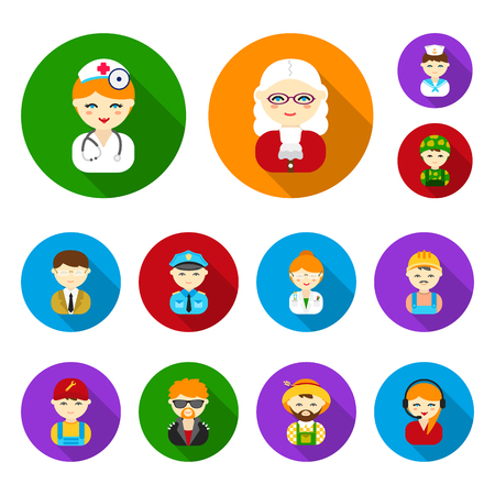 People of different professions flat icons in set collection for design. Worker and specialist vector symbol stock web illustration. Illustration