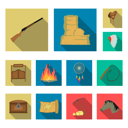 Attributes of the wild west flat icons in set collection for design.Texas and America vector symbol stock web illustration.  イラスト・ベクター素材