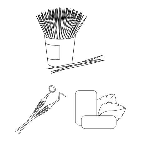 Icone del profilo di cure odontoiatriche nella raccolta dell'insieme per progettazione. Cura dell'illustrazione delle azione di simbolo di vettore dei denti. Vettoriali