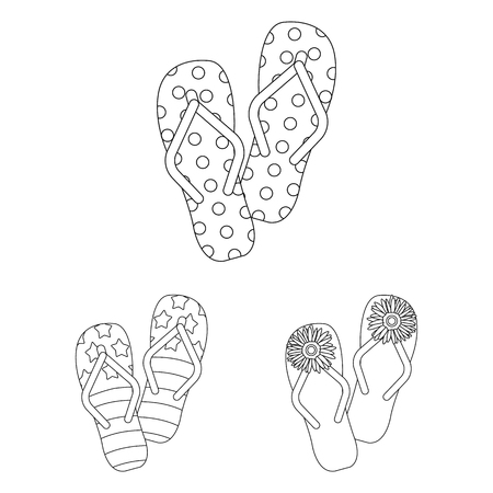 Flip-flops outline icons in set collection for design. Beach shoes vector symbol stock  illustration.