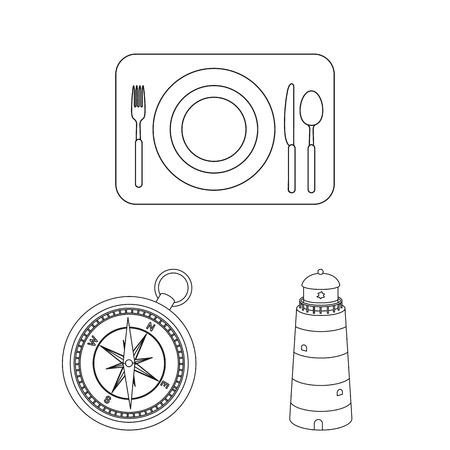 Rest and travel outline icons in set collection for design. Transport, tourism vector symbol stock  illustration. Illusztráció
