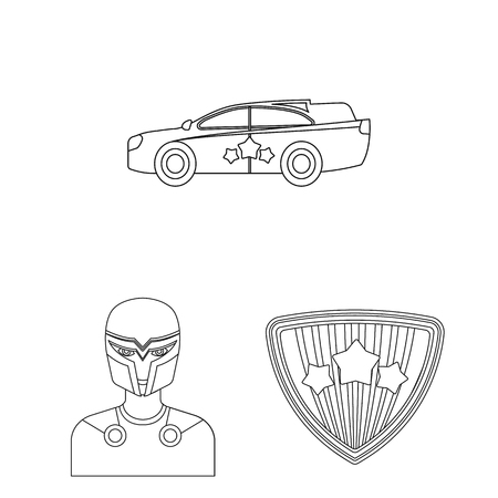 A fantastic superhero outline icons in set collection for design. Superhero equipment vector symbol stock illustration. Illustration