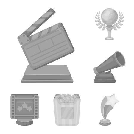Film awards and prizes monochrome icons in set collection for design. The World Film Academy vector symbol stock  illustration. Stock Illustratie