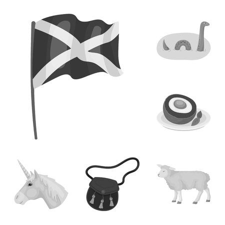 Country Scotland monochrome icons in set collection for design. Sightseeing, culture and tradition vector symbol stock  illustration. Illustration