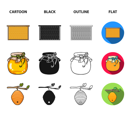 A frame with honeycombs, a ladle of honey, a fumigator from bees, a jar of honey.Apiary set collection icons in cartoon,black,outline,flat style vector symbol stock illustration . Illustration