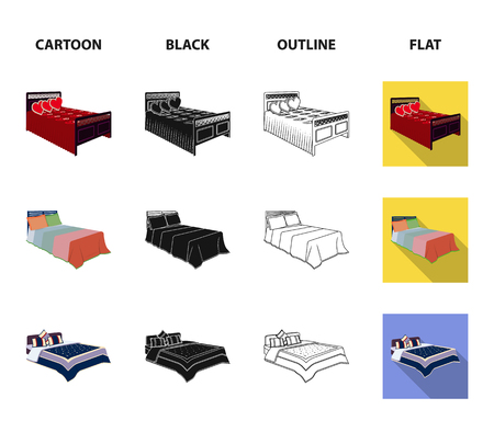 Different beds cartoon,black,outline,flat icons in set collection for design. Furniture for sleeping vector isometric symbol stock  illustration.