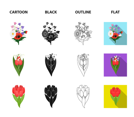 A bouquet of fresh flowers cartoon,black,outline,flat icons in set collection for design. Various bouquets vector symbol stock  illustration. Illustration