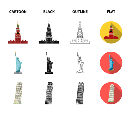 Sights of different countries cartoon,black,outline,flat icons in set collection for design. Famous building vector symbol stock  illustration.