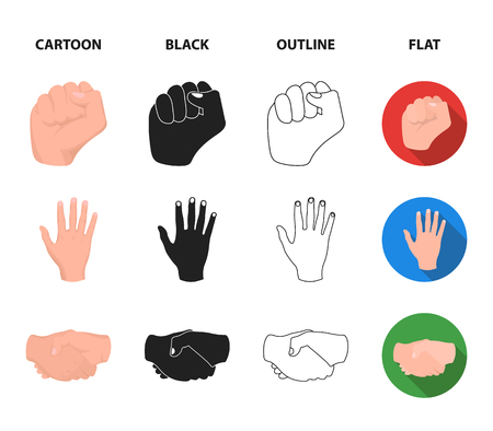 Open fist, victory, miser. Hand gesture set collection icons in cartoon,black,outline,flat style vector symbol stock illustration web.