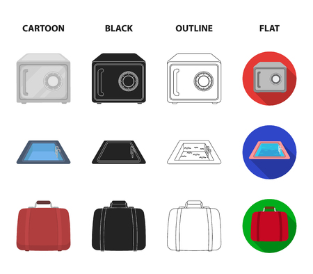 Trolley with luggage, safe, swimming pool, clutch.Hotel set collection icons in cartoon,black,outline,flat style vector symbol stock illustration web. Иллюстрация