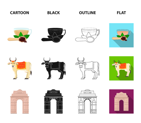 Country India cartoon,black,outline,flat icons in set collection for design.India and landmark vector symbol stock web illustration.