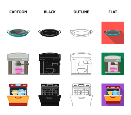 Kitchen equipment cartoon,black,outline,flat icons in set collection for design. Kitchen and accessories vector symbol stock web illustration.