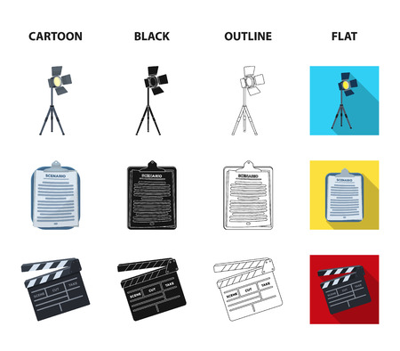 Hromakey, script and other equipment. Making movies set collection icons in cartoon,black,outline,flat style vector symbol stock illustration web. Иллюстрация