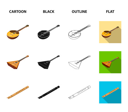 Musical instrument cartoon,black,outline,flat icons in set collection for design. String and Wind instrument isometric vector symbol stock web illustration.