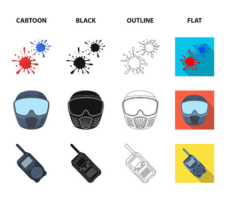 Wooden barricade, protective mask and other accessories. Paintball single icon in cartoon,black,outline,flat style vector symbol stock illustration web.
