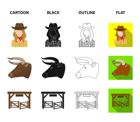 Head of a horse, a bull head, a revolver, a cowboy girl. Rodeo set collection icons in cartoon,black,outline,flat style vector symbol stock illustration web.