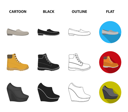 Flip-flops, clogs on a high platform and heel, green sneakers with laces, female gray ballet flats, red shoes on the tractor sole. Shoes set collection icons in cartoon,black,outline,flat style vector symbol stock illustration web.