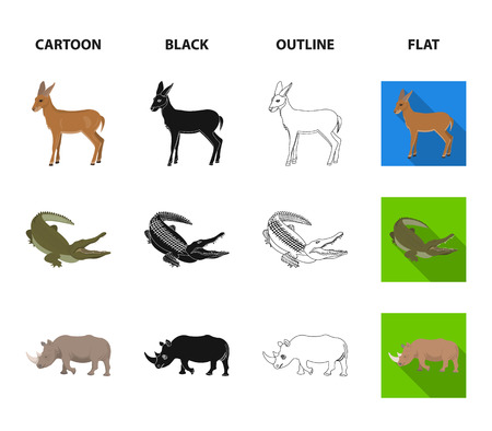 lama, ostrich emu, young antelope, animal crocodile. Wild animal, bird, reptile set collection icons in cartoon,black,outline,flat style vector symbol stock illustration web.