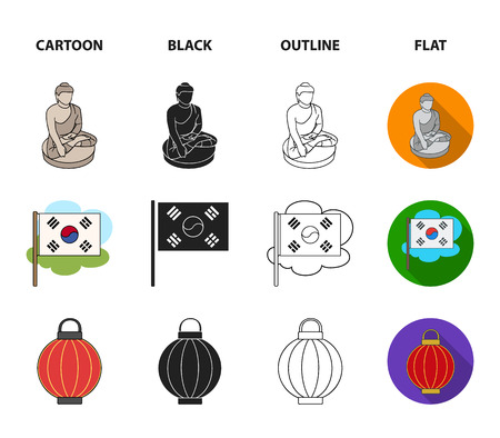 Korean in national headdress, Korean monastery, Buddha figurine, national flag. South Korea set collection icons in cartoon,black,outline,flat style vector symbol stock illustration web.