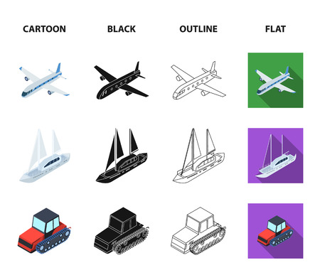 Bicycle, rickshaw, plane, yacht.Transport set collection icons in cartoon,black,outline,flat style vector symbol stock illustration web.